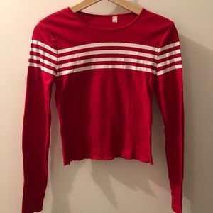 Red with stripes long sleeve shirt